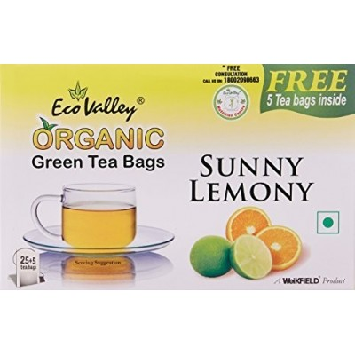 Eco Valley Organic Green Tea, Sunny Lemony, 25 Tea Bags(Free 5 Tea Bags Inside)