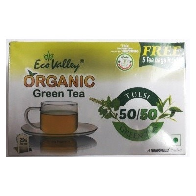 Eco Valley Organic Green Tea, Tulsi Green Tea(Free 5 Tea Bags Inside)