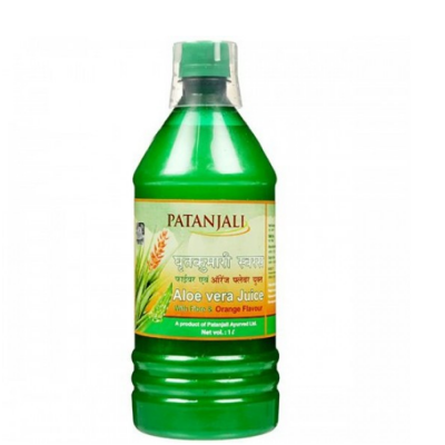 Patanjali Aloevera Juice Orange Fiber, 1 litre