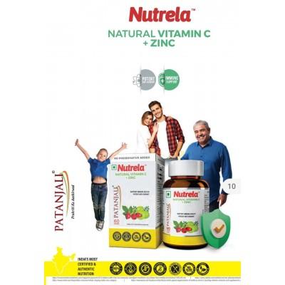 Patanjali Nutrela Natural Vitamin C + Zinc, 60 Tablets