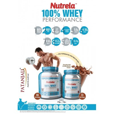 Patanjali Nutrela 100% Whey Performance, 2kg Jar