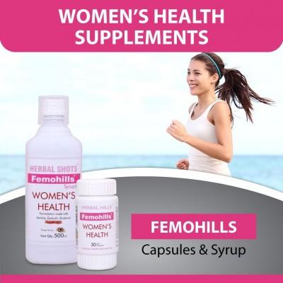 Herbal Hills Femohills, 30 Soft Capsule and Femohills Syrups, 500ml
