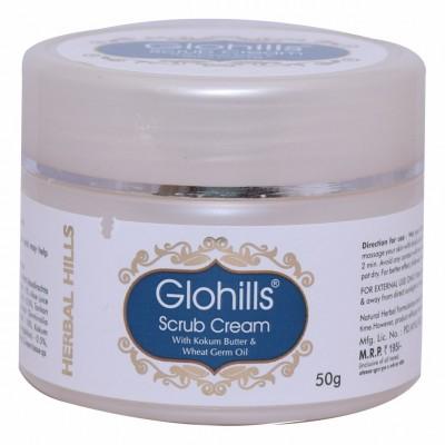 Herbal Hills Natural Glohills Skin Scrub Cream with Kokum Butter & Wheatgerm Oil, 50 gms
